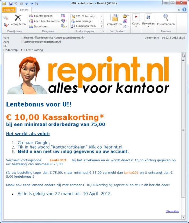 SEO via e-mail door Reprint.nl
