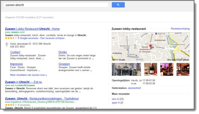 Google Rich Snippets Restaurant Zussen Utrecht