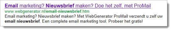 Voorbeeld zoekmachine resultaat email nieuwsbrief maken