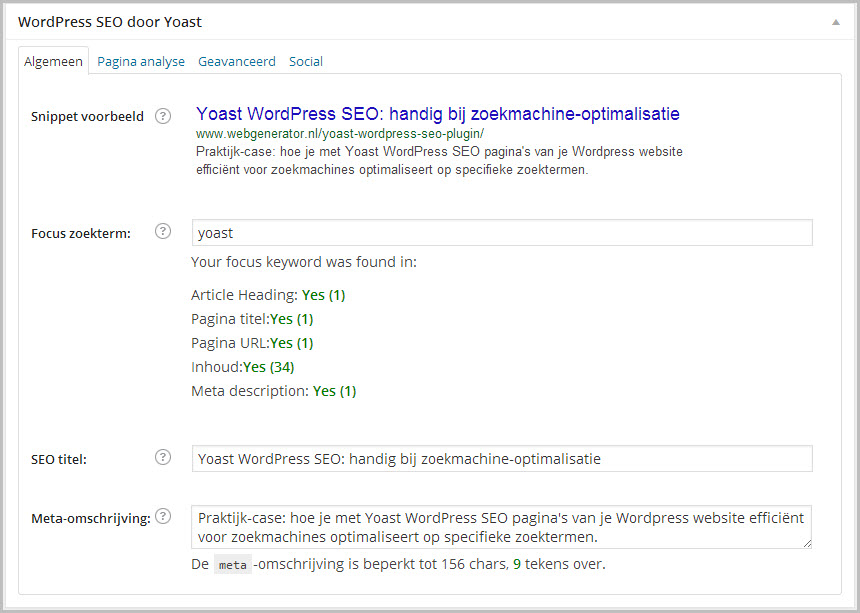 Yoast WordPress SEO > Algemeen, ingevuld