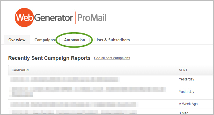 """Autoresponders en RSS-mails onder """"Automation"""" in ProMail"""